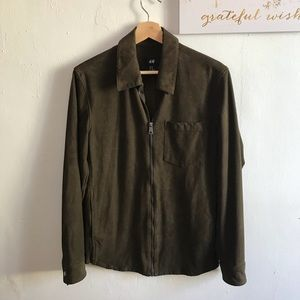 H&M Olive Green Faux Suede Soft Zipper Jacket XS